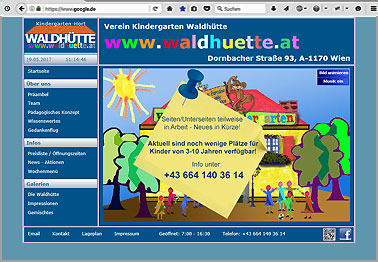 Webseite http://waldhuette.at